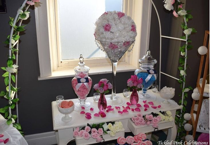 Pink white and blue floral pretty engagement party lolly buffet styled by www.tickledpinkcelebrations.com.au