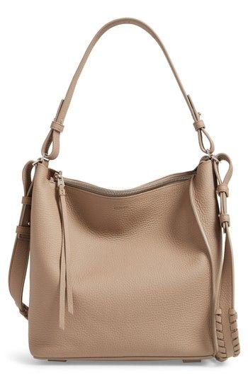 ALLSAINTS 'KITA' LEATHER SHOULDER/CROSSBODY BAG - GREY. #allsaints #bags #shoulder bags #leather #crossbody #