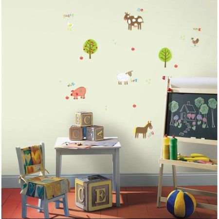 Fun4Walls Farm Wall Stickers, Multi, Green