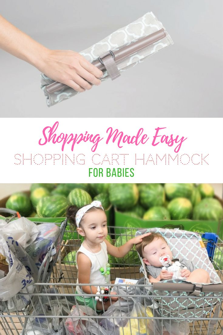 the best hack for shopping with babies, shopping cart hammock, saving space in your shopping cart, shopping cart hacks