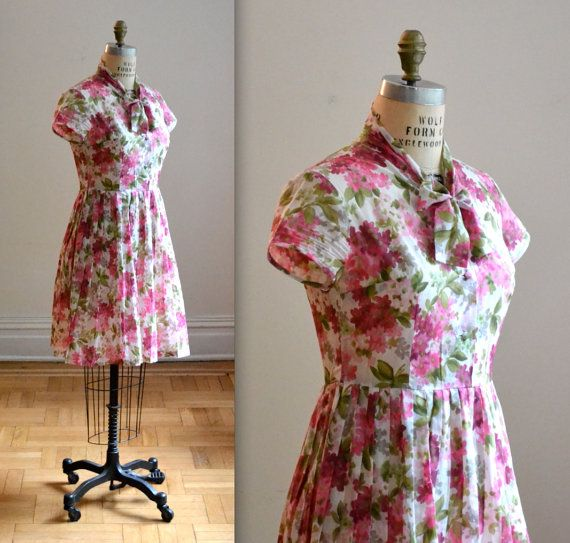 Vintage 50s Shirt Dress In White with pink by Hookedonhoney