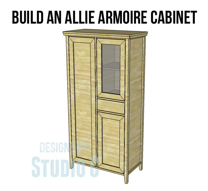 A Gorgeous Cabinet to Build for Any Space with the Allie Armoire Cabinet Plans! I really love the style of this armoire cabinet... The Allie armoire cabinet plans feature one long cabinet with shel...