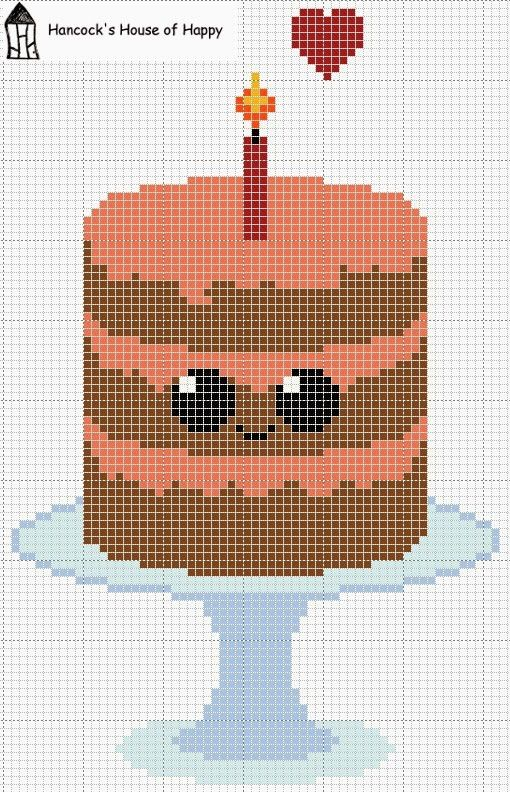 Everyone Loves Cake! Cute Kawaii Chocolate Cake Cross Stitch Chart