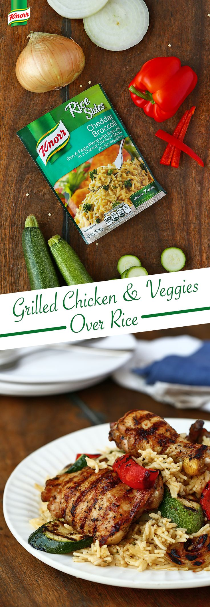 Knorr's recipe for easy Grilled Chicken & Veggies Over Rice is your family's new favorite dinner. Follow these steps for delicious flavor: 1. Blend butter spread with Italian seasoning in a small bowl 2. Brush chicken and vegetables with the mixture 3. Grill or broil meat and vegetables until cooked and tender 4. Serve with hot Knorr® Rice Sides™ - Cheddar Broccoli