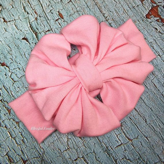 Powder Pink Scrunchy Bow Messy Bow Headband by BlissfulEmilee