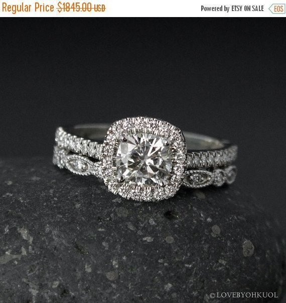 Halo Cushion Cut Moissanite Engagement Ring – Forever One Colorless – Leaf Milgrain Band, Wedding Set