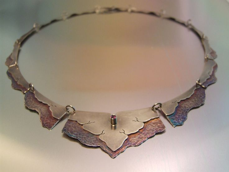 sterling silver, patina, rhodolite garnet, choker necklace