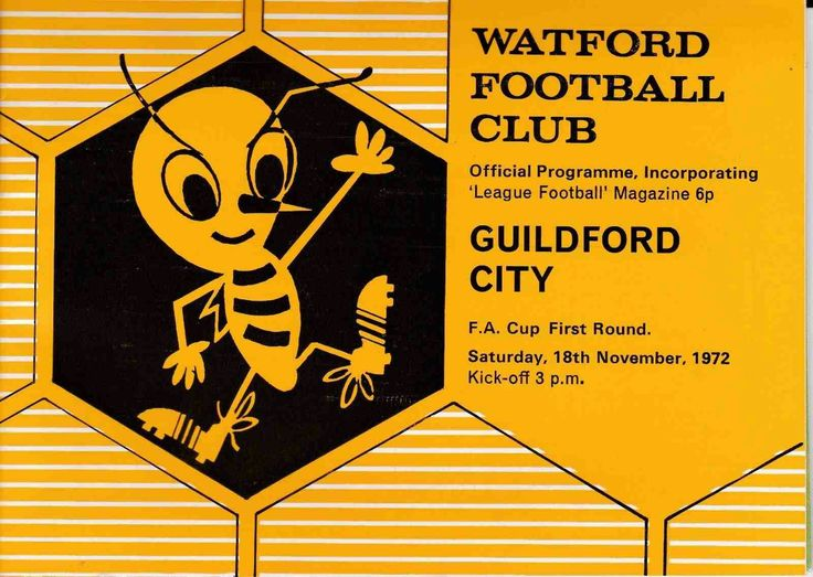 Watford 4 Guildford City 2 in Nov 1972 at Vicarage Road. The programme cover for the FA Cup 1st Round tie.