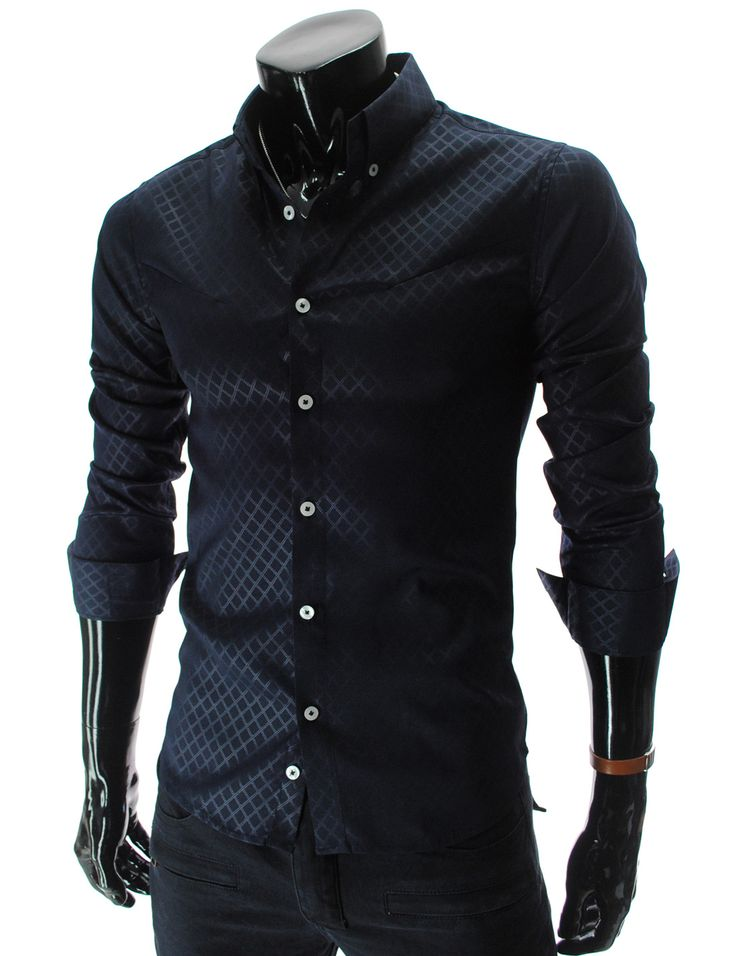 Navy Slim Fit Pattern Dress Shirt