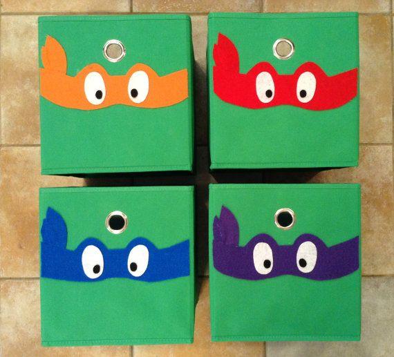 Set Of 4 Ninja Turtles Fabric Storage Or Toy Bins  TMNT Ninja Turtles Room  Decor