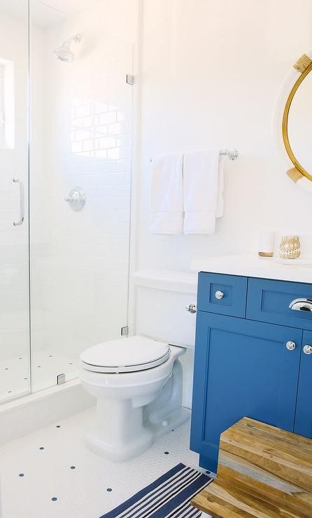 Tan And Blue Kid S Bathroom Features A Serena Lily Montara Mirror Over A Blue Washstand