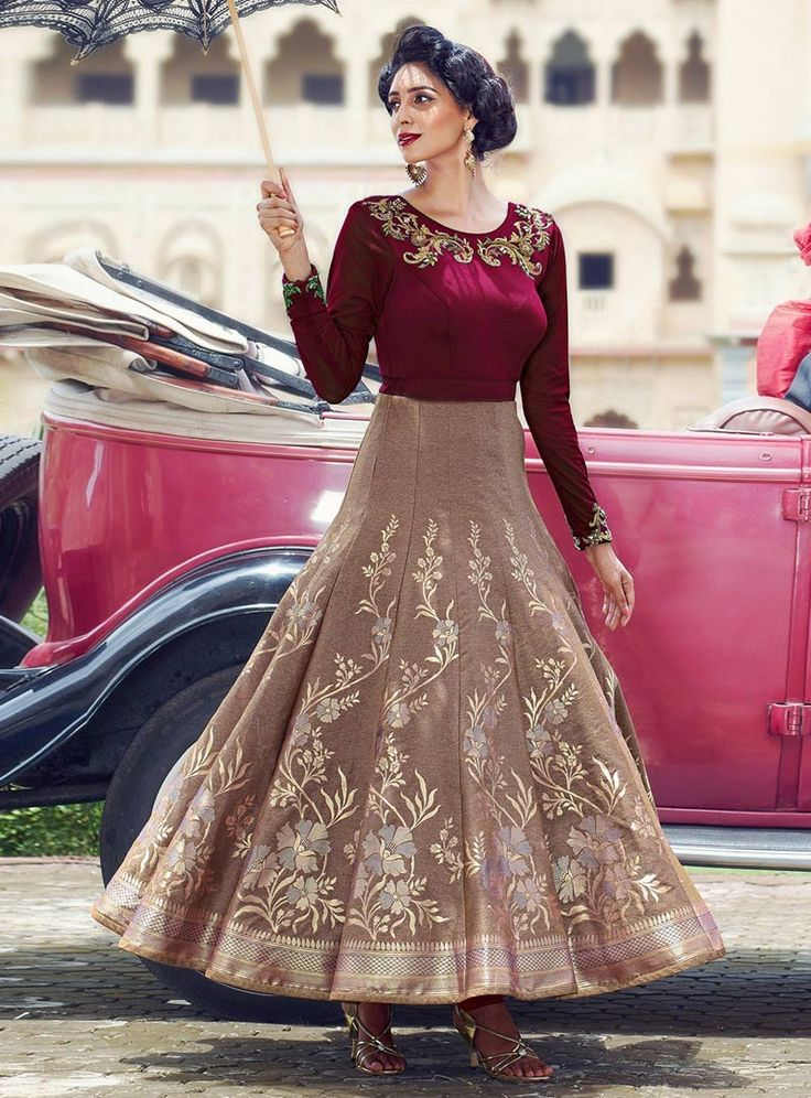 Maroon Jacquard Party Wear Gown 85292