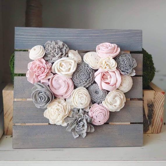 Rosa y gris Mini madera flores corazón tabla flores de madera | Etsy