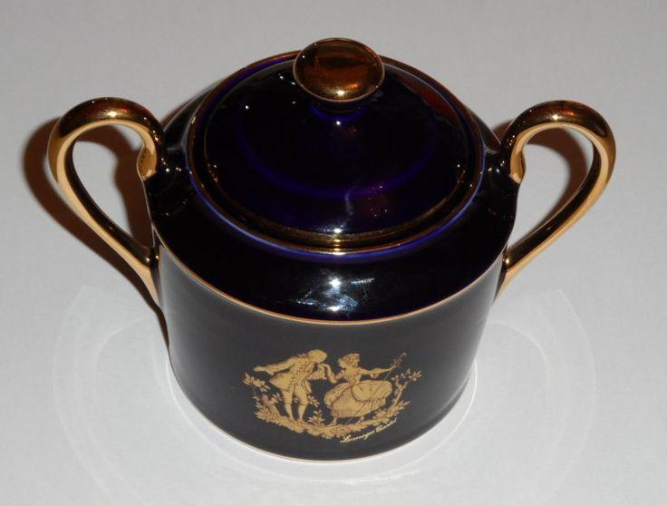 LIMOGES COBALT BLUE 2 k Gold Lidded Vanity Jar / Pot With Lid / Porcelain / Ideal Gift by AntiquesEtCetera13 on Etsy