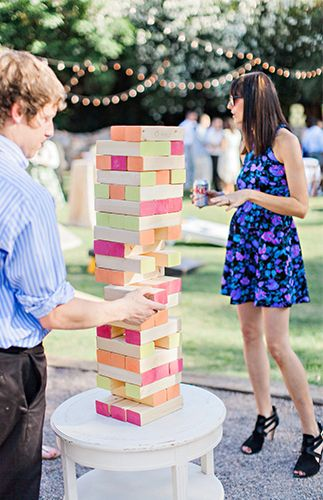 Neon jenga game for a neon wedding
