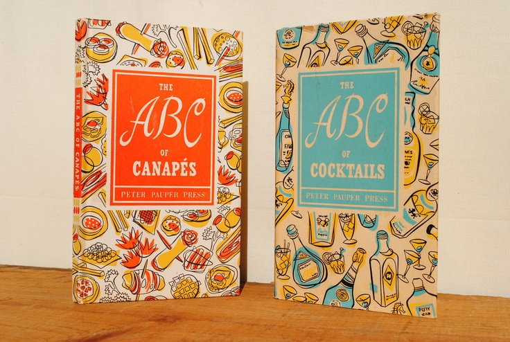Abc of cocktails and abc of canapes 1950s via etsy for Canape cookbook