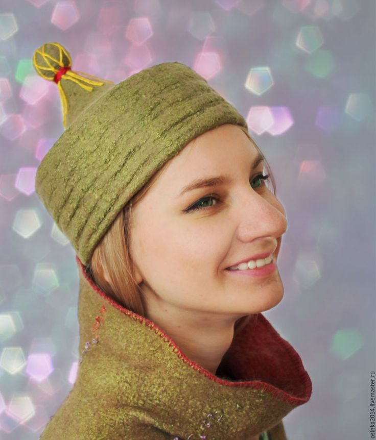 Купить Шляпка ток валяние шерсть. - оливковый, однотонный, шляпка, шляпка женская, шляпка ток