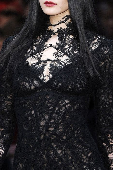 Beautiful black lace.  Fancy dress for Morticia?