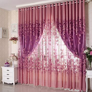 One+Panel+Country+Floral+Living+Room+Polyester+Sheer+Curtains+Shades+–+AUD+$+12.86