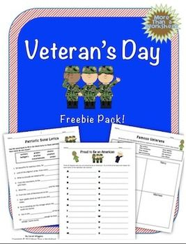 Veteran's Day Warm Up activities for 3rd to 6th