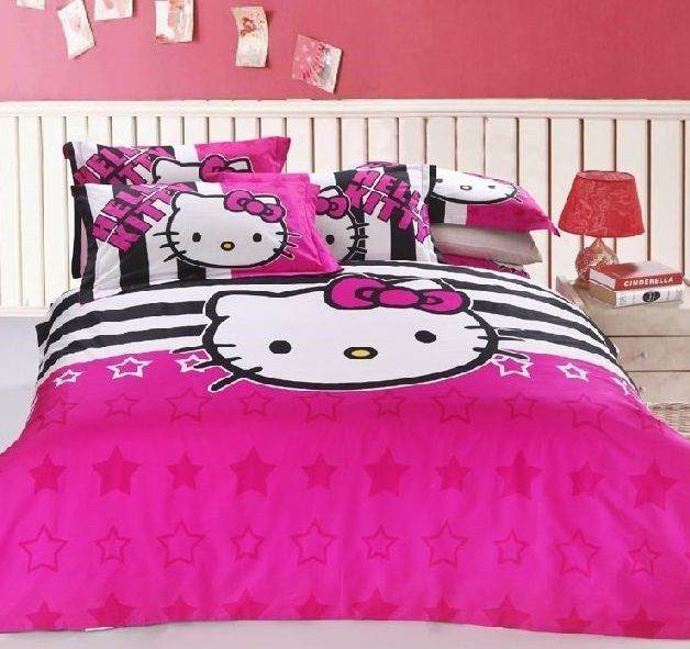 New 2014 Unique Hello Kitty Bedding Set 4pc Queen Size Pink Cotton RARE