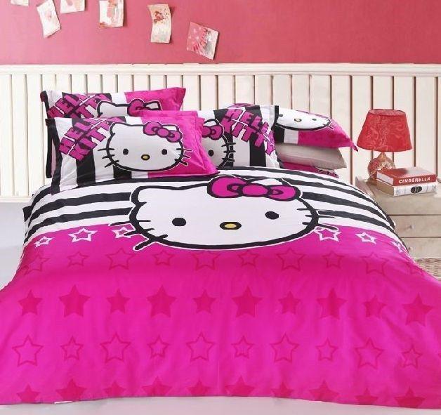 New 2014 Unique Hello Kitty Bedding Set 4pc Queen Size Pink Cotton RARE