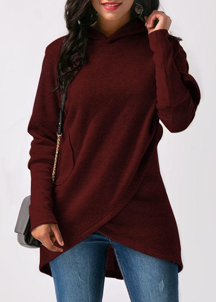 Pocket Asymmetric Hem Long Sleeve Wine Red Hoodie   liligal.com - USD $32.75