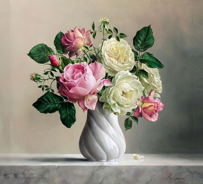 25 Hyper Realistic Flower Paintings By Belgium Artist Pieter