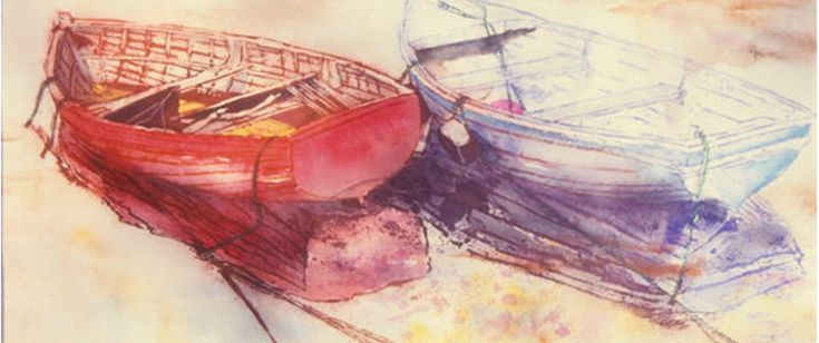"""listing , red n white dories 12 x 30"""" micheal zarowsky  watercolour on arches paper"""
