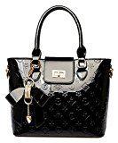 Oruil Mode-Handtasche mit Blumen-Design Handtasche Charme und Metall-Verschluss PU-Leder-Handtasche für Frauen (Schwarz)