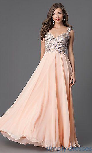 Chiffon Beaded Sweetheart Floor Length Gown