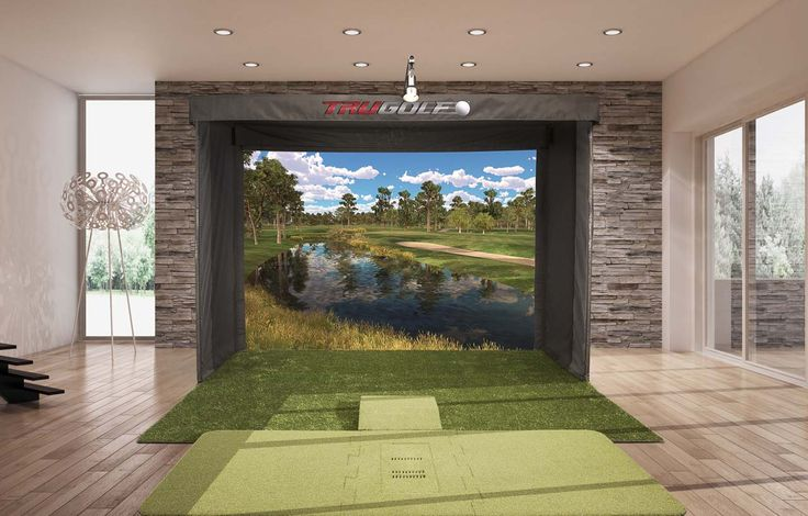 Vista 12 portable golf simulator by TruGolf. Features E6Golf software with over 85 prestigious courses including Bandon Dunes, Pebble Beach, and St. Andrews.