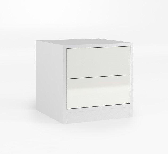 Kontenerek o wymiarach: 480x484x480. dwie szuflady z systemem TIP – ON firmy BLUM, czyli otwieranie przez naciśnięcie. W celu otwarcia frontu bez uchwytu, wystarczy delikatnie nacisnąć natomiast, aby go zamknąć należy lekko docisnąć, może służyć jako szafka nocna lub kontenerek do biurka, blat laminowany o grubości 25 mm, boki kontenerka i blat wykonane z płyty laminowanej, fronty z płyty MDF.