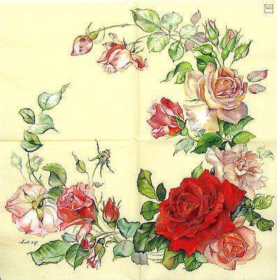 4x Vintage Rosas Blancas Papel Servilletas Para Decoupage Decopatch Craft