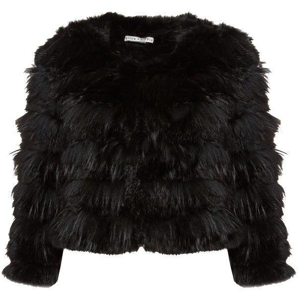 Alice + Olivia Embellished Wide Leg Pant ($279) ❤ liked on Polyvore featuring pants, jackets, alice + olivia, alice olivia jacket, black jacket, black fur jacket and fur jacket