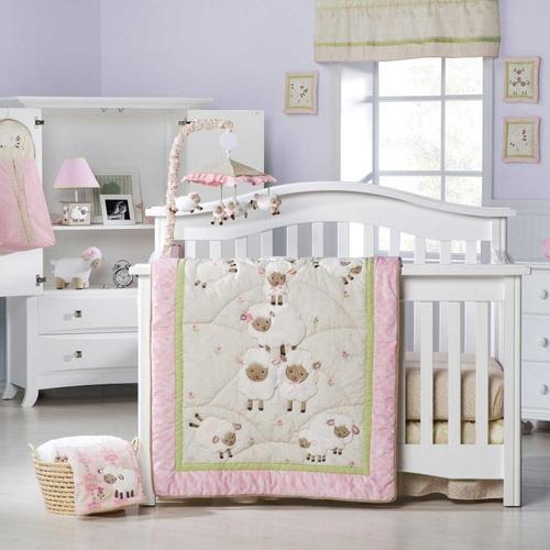 WANT THIS!! Pink and White Sheep Baby Girl Nursery 8pc