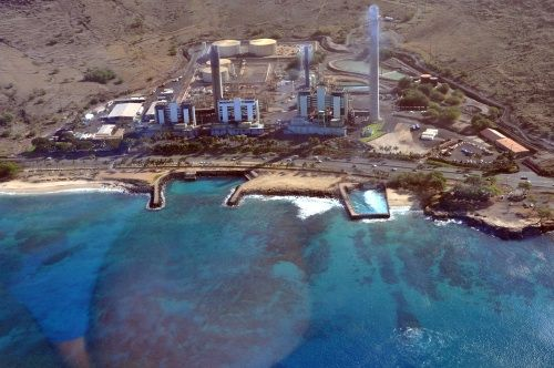 Snorkel at Electric Beach and Hawaiian Electric's Kahe Power Plant in Leeward Oahu as seen from a Makani Kai Helicopter