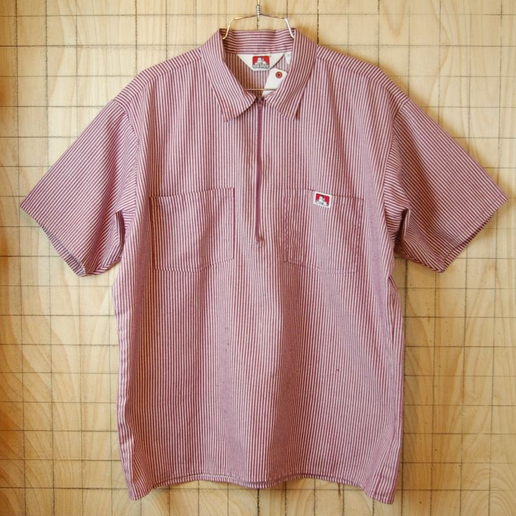 【BEN DAVIS】古着USA製ベンデイビスメンズ半そでレッドストライププルオーバーワークシャツ