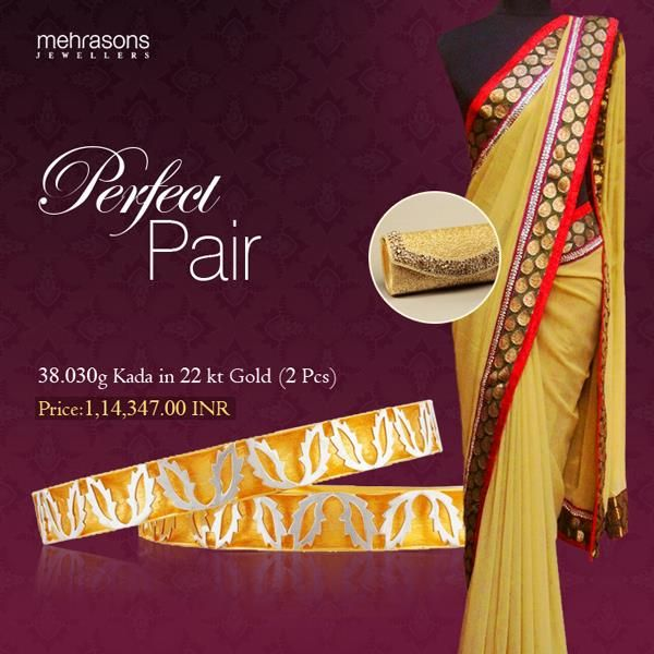 Gold kadas and yellow traditional sarees #Goldbangles #IndianJewellery