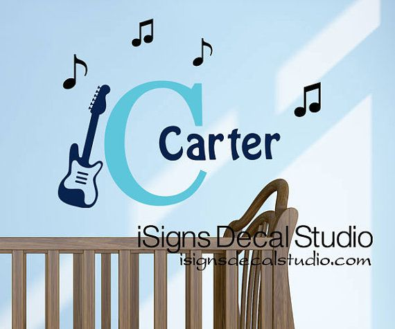 Music Nursery Decal   Initial Name Wall Decal by iSignsDecalStudio