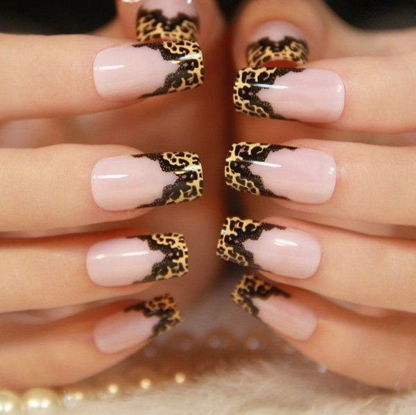 Leopard and lace nail art