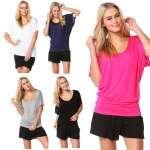BETTY BASICS Maui Batwing Tee T Shirt Top Black Navy White Silver Size 10 – 18