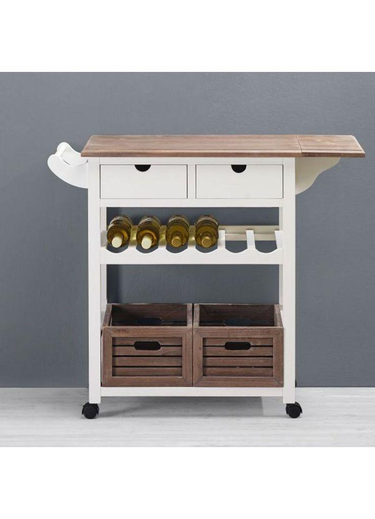 Küchenwagen in Weiß mit Holz Cookie - Braun/Weiß, Holz/Holzwerkstoff (96/82/36cm) - premium living