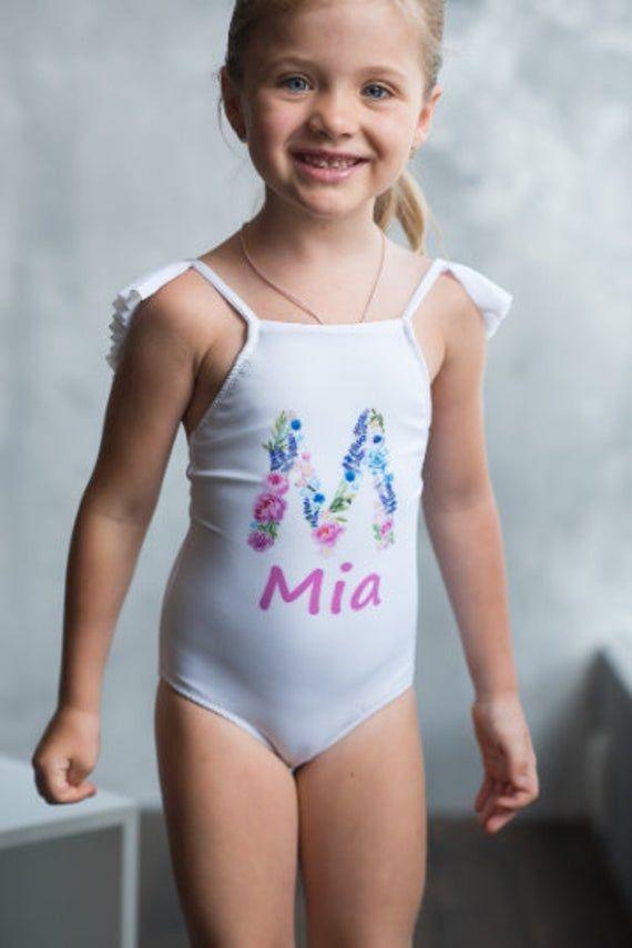 New parents gift Birthday girl gift Boutique handmade bathing suit Baby girl monogram bathing suit One piece ruffle monogram swimsuit