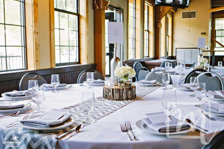 Simple center piece idea for a mountain wedding. | Schweitzer Mountain Resort | photo by Melissa McFadden