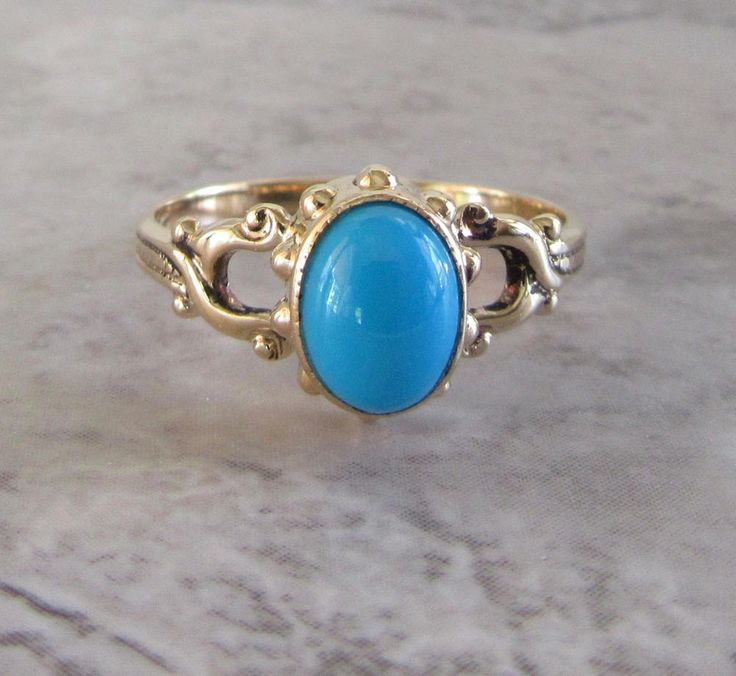 Yellow Gold Turquoise Ring, Vintage Turquoise Ring, Turquoise Ring, December Birthstone Ring, Turquoise, Birthstone Ring, Gold and Turquoise by DorothyGallunJewelry on Etsy