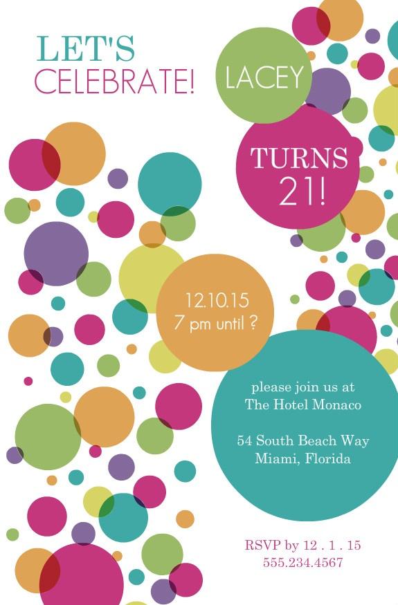 Colorful Bubbles 21st Birthday Invitation