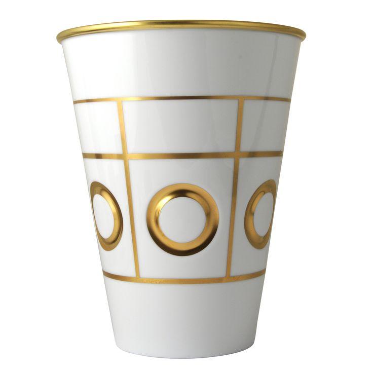 Bernardaud - Vase Filicudi or - Olivier Gagnère #bernardaud #porcelaine #porcelain #tableware #tablesetting #tablescape