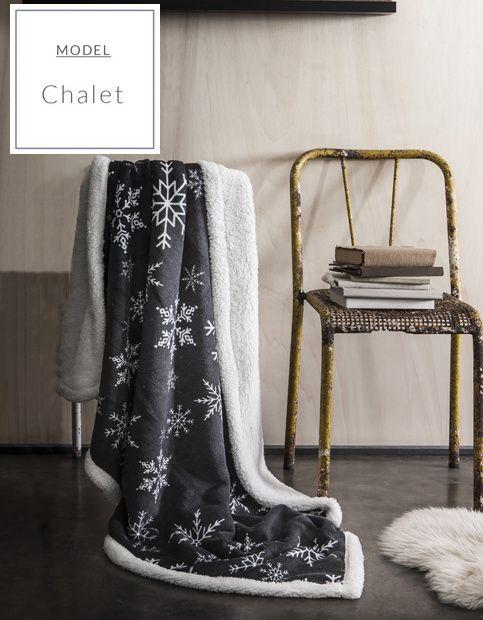Tmavošedé francouzské deky na sedačky s vločkami