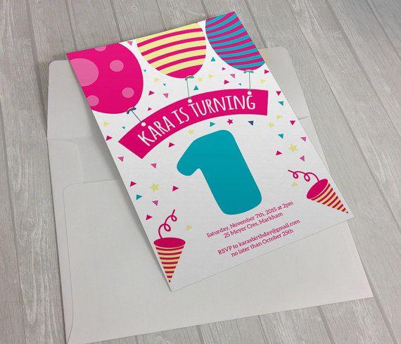 DIGITAL - Pink Balloons First Birthday Invitation
